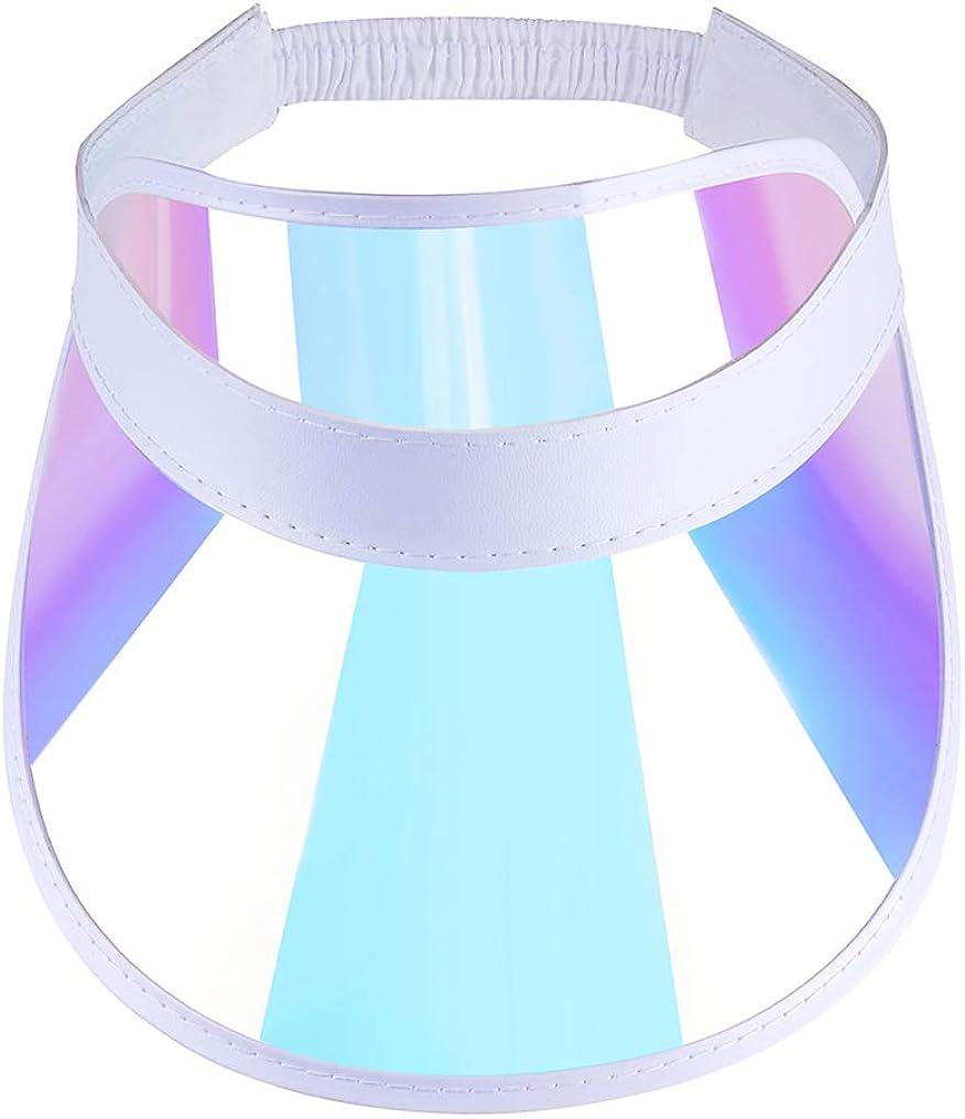 Outdoor Sports Cap White, Adjustable Plastic-Visor-Hat Sun-Protection Iridescent Tennis