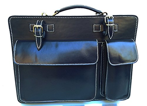 Superflybags Borsa Cartella Porta documenti Vera Pelle Made in Italy modello Classic XL 38x27x10 Blu scuro