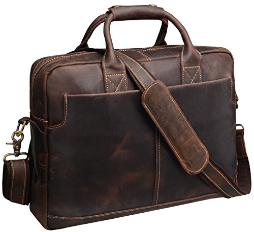 Iswee Leather Messenger Bag Attache Satchel Briefcase for Business Men's Shoulder 16'' or 17'' Laptop Bag (Large Dark Brown) by Iswee