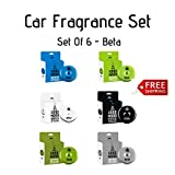 Car Fragrances | Essential Oils | Car Air Freshener With Easy-to-Use Air Vent Diffuser | Boost Your Mood | 6 Different Scents | Set Of 6 (Beta)