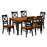 Cheap East West Furniture NIQU7-BCH-W 7 Piece Dining Table and 6 Chairs Set