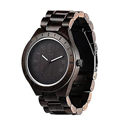 Ideashop Mens Wooden Watch Black Sandal Wood Analog Watch Japan MIYOTA Quartz Movement Wooden Wristwatch