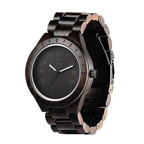 Ideashop Mens Wooden Watch Black Sandal Wood Analog Watch Japan MIYOTA Quartz Movement Wooden Wristwatch by...
