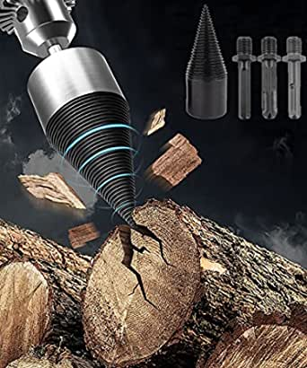 Firewood Log Drill Bit, 4Pcs Wood Log Splitter, 32MM Heavy Duty Drill Screw Cone Driver for Hand Drill Stick, Removable Wood Splitter Screw with Round + Hex + Square Shank