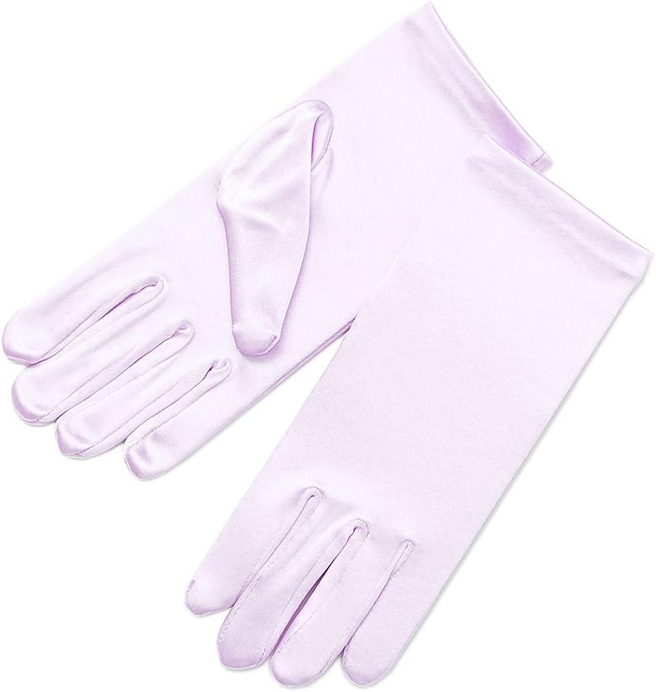 ZaZa Bridal Girl's Fancy Stretch Satin Dress Gloves Wrist Length 2BL