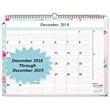 Wall Calendar 2018-2019 Monthly Calendar Organizer 18 Inches x 12 Inches Desk Calendar Planner Large Golden Wirebound Calendar for Planing and Organizing(from December 2018-December 2019)