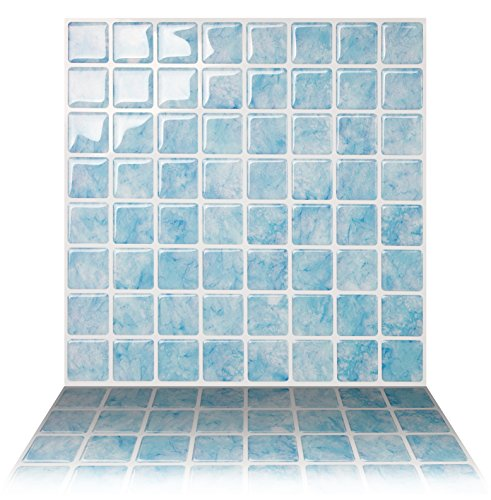 Tic Tac Tiles Anti Mold Peel And Stick Wall Tile In Vetro Aqua  5 Tiles