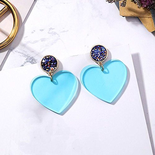 High-Season MENGJIQIAO 2018 New Korean Fashion Transparent Acrylic Big Heart Earrings For Women Summer Statement Candy Color Drop Pendientes (Blue)