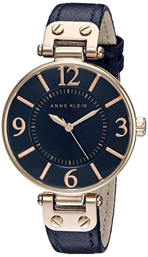 Anne Klein Women's 10/9168RGNV Rose Gold-Tone and Navy Blue Leather Strap Watch ()