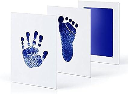 Upgrade Version Norjews Baby Handabdruck und Fu/ßabdruck Fotoalbum mit ZweiCleanTouch Stempelkissen Babyhaut kommt nicht mit Farbe in Ber/ührung das ideale Babyparty Geschenk