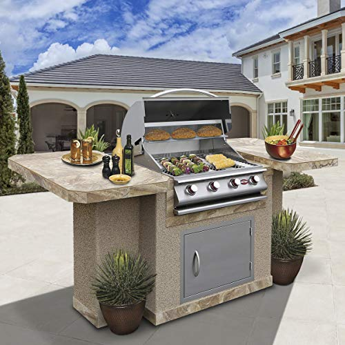 Cal Flame Bistro 404 Outdoor Kitchen Island with 6 Person Bar and 4-Burner Built in Grill 27