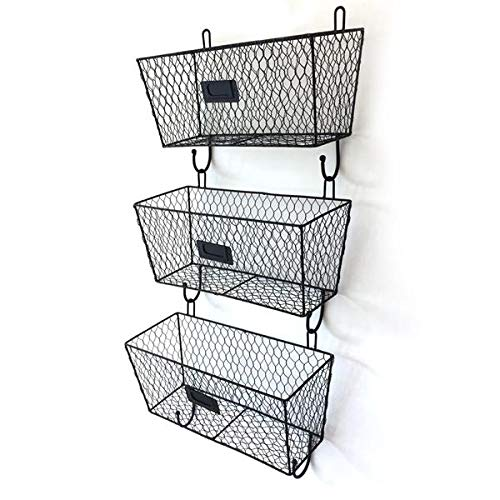 Small Openwork Basket - Wall Mounted Key and Mail Sorter Storage Rack with 2 Hooks, Openwork Metal Mesh Storage Baskets Display Racks, Set of 3 Black