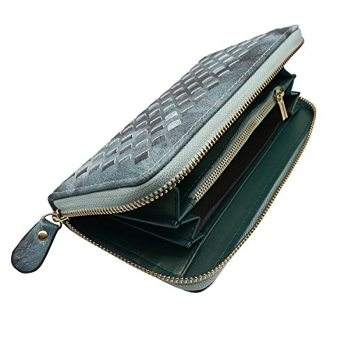 ORIREAL Women's Clutch Wallets Large Capacity Card Holder Organizer Ladies Woven Purse(Green) by ORIREAL