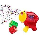 Un pistolet à confettis Party Popper de très haute qualité.12 coup (2 recharges, 6 tirs par recharge), Fonctionne sans aucune pile. A chaque coup tiré, un bang retentit et expulse des confettis Aucun danger, correspond aux normes de sécurité. Utilisation très simple, dimension du pistolet environ : 10 cm, très pratique. animation ambiance animé soirée fête jouet enfant adulte sympa noel nouvel an fin d'année:KP-01 Pistolet rouge à 12 coup