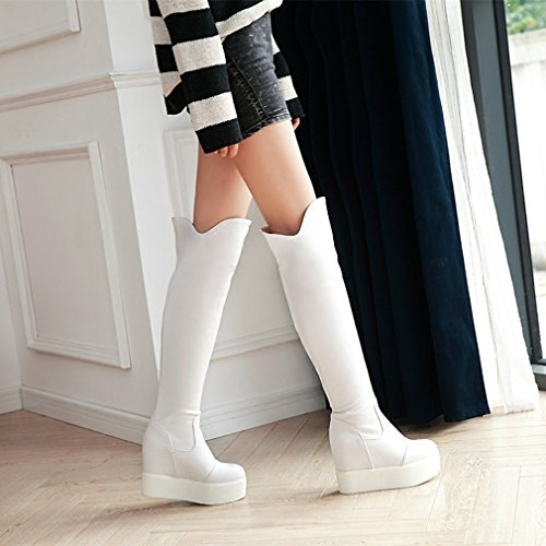 Btrada Womens Sweet Over The Knee Thigh High Boots Wide Calf Increased Height Chunky Heels Snow Boots White Mbn9Y9Hql
