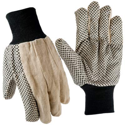 Dotted Mens Glove - True Grip 9163-26 Men's Large Coton Canvas Gloves w Gripper Dots - Quantity 6