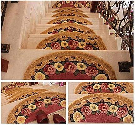 Tapete interior para puerta de felpudo En forma de abanico Impresión floral Escalera Alfombra Escaleras Alfombras antideslizantes Alfombras semicirculares Alfombra interior Escalera de la banda de rod: Amazon.es: Hogar
