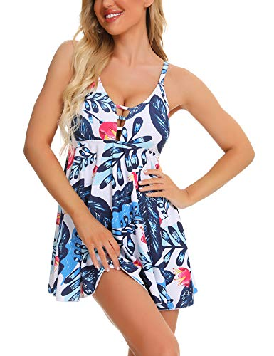 FINWANLO Womens Tankini Swimsuits Tummy Control Swimwear Two Piece Bathing Suits with Boyshorts Slimming Swimdress