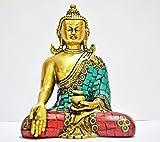 AapnoCraft Thai Bhumisparsh Buddha Sculpture Inspirational Religious Buddha Statue Brass Idols of Buddha Home Decor