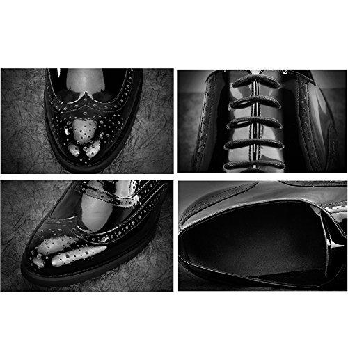 Black Artigianali Pelle Vernice Scarpe Scarpe Per In Scarpe Feste Uomo MERRYHE Nozze Fatte Di Le In Punta Sera Con Broghe Da Vera In Da A Rotonda Mano C8nFTqwxWw