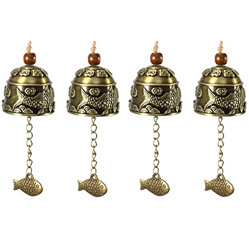 WEICHUAN Wind Chimes Wind Bells - Vintage Style Chinese Traditional Fish Feng Shui Bell For Good Luck Blessing Fortune Home Car Crafts Hanging Decoration Gift (PACK OF (Traditional Fish)