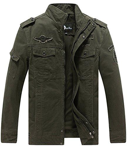 WenVen Men's Fashion Cotton Jackets (Military Green, US Size XL)