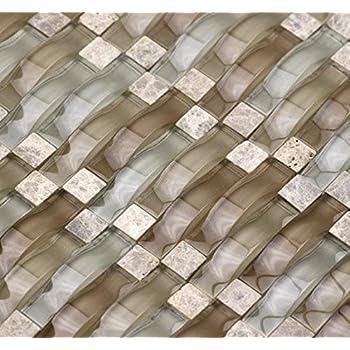 Sherry Ripple Series Neutral Beige 3D Wave Backsplash Glass Stone