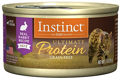 Instinct Ultimate Protein Grain Free Real Rabbit Recipe Natural Wet Canned Cat Food by Nature's Variety, 3 oz. Cans (Case of - Cat Rabbit Grain Free Food