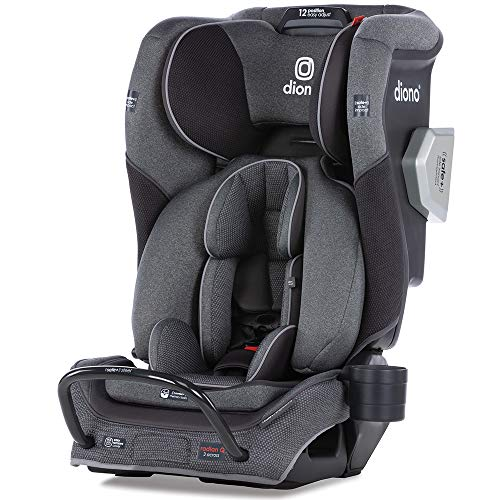 Diono Radian 3QXT 4-in-1 Rear and Forward Facing Convertible Car Seat, Safe Plus Engineering, 4 Stage Infant Protection, 10 Years 1 Car Seat, Slim Design – Fits 3 Across, Gray Slate