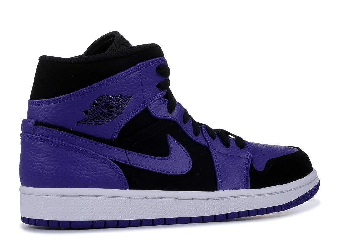 newest 15f6c 51a20 Amazon.com   Jordan Mens AIR 1 MID Black Dark Concord White Size 12    Fashion Sneakers