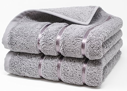 Extra Large Size 20 inch x 32 inch, 100% Turkish Combed Cotton, 800 Gram Luxury Set of 2 Thick, Soft, Ultra Absorbent and Durable Hand & Hair Towels (20 inch x 32 inch - with Stripes, Gray) (Towels 800 Gram)