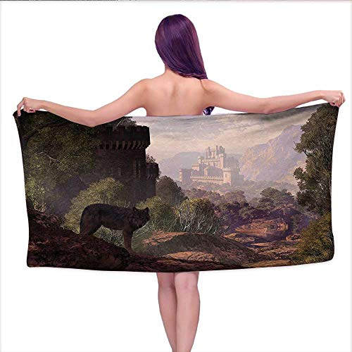 duommhome Woodland Customized Bath Towel Combination Wolf Coming Out of The Woods Gothic Castle Lake Boat Off in Distance Fun Hand Towels Set W 28