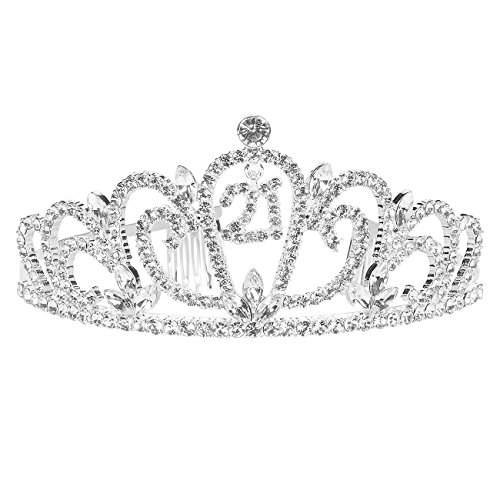 Rhinestone Birthday Tiara - Decorative Birthday Headband For Women, 21st Celebration Princess Crown - 5 x 2.2 x 5.5 Inches