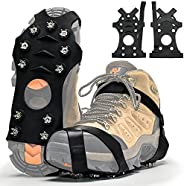 Ice Traction Cleats for Shoes and Boots, Crampons for Ice and Snow, 11 Stainless Steel Spikes Microspikes Shoe