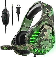 Spelheadset för PS5 PS4 Xbox One PC-hörlurar med mikrofon LED-ljus brusreducering över örat kompatibel med Nintendo...