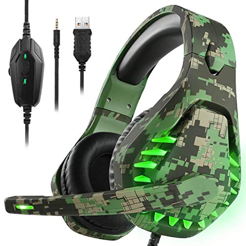 Gaming Headset für PS5 Xbox One PC Kopfhörer mit Mikrofon LED Licht Noise Cancelling Over Ear Kompatibel mit Nintendo Switch Games Laptop Mac PS4 (Camouflage Green)
