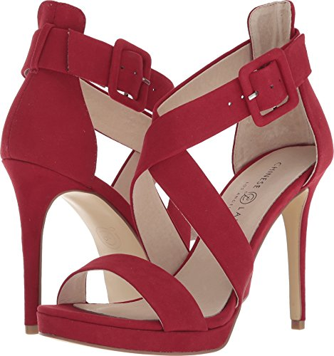 Chinese Laundry Women's Foxie Heeled Sandal, Lollipop RED Suede, 9 M -