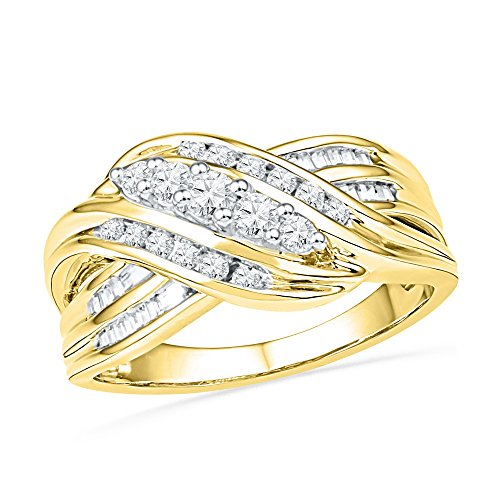 Set Baguette Diamond Wedding Band - Size - 5.5 - Solid 10k Yellow Gold Round Baguette White Diamond Channel Set Curved Crossover Wedding Band OR Fashion Ring (1/2 cttw)