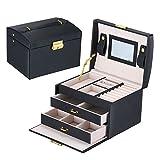 Lanscoe Jewelry Box Lockable and Travel Jewelry Organizer Mirrored Jewelry Box Storage Case Gift for Women Girls Black