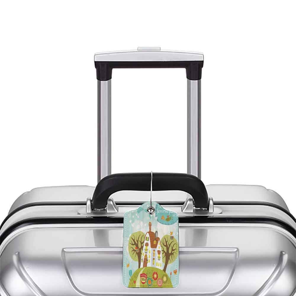 Decorative luggage tag Mothers Day Gifts Primitive Happy Family Quotes Together Is Our Special Place to Be Cartoon Home Tree of Life Olive Green Turquoise Brown White Red W2.7 x L4.6