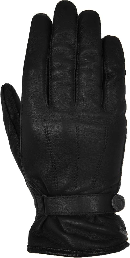 Oxford Holton Mens Short Leather Retro Classic Motorcycle Gloves Black