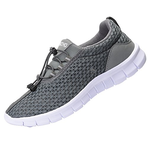 RIGCHO Men's Athletic Running Shoes Fashion Sneakers Lightweight Breathable Casual Mesh Soft Sole Shoes,Grey,8.5US/42EU,MEN