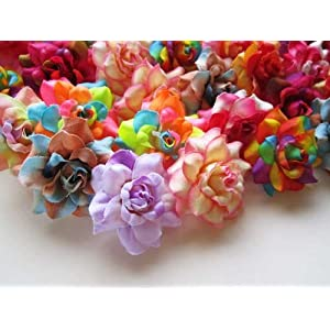"(100) Assorted Silk Roses Flower Head - 1.75"" - Artificial Flowers Heads Fabric Floral Supplies Wholesale Lot for Wedding Flowers Accessories Make Bridal Hair Clips Headbands Dress 10"