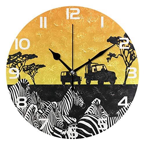 ALAZA Africa Safari Zebra and Sun Round Acrylic Wall Clock, Silent Non Ticking Oil Painting Home Office School Decorative Clock Art