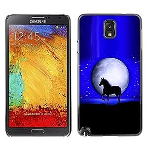 Caucho caso de Shell duro de la cubierta de accesorios de protección BY RAYDREAMMM - Samsung Galaxy Note 3 N9000 N9002 N9005 - Mustang Stallion Horse Moon Night Black