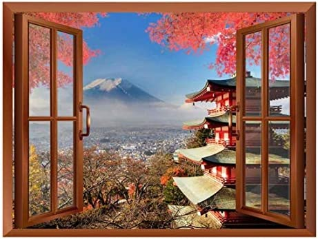Copper Window Looking Out Into a Shrine with Mount Fuji on The Background Wall Mural