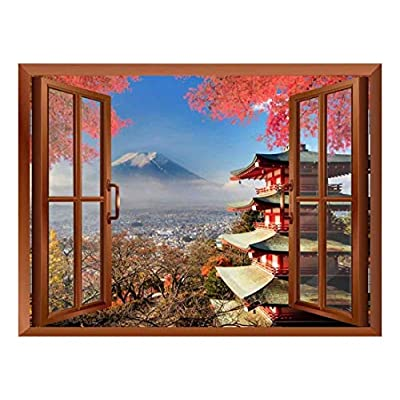 Lovely Style, That You Will Love, Copper Window Looking Out Into a Shrine with Mount Fuji on The Background Wall Mural