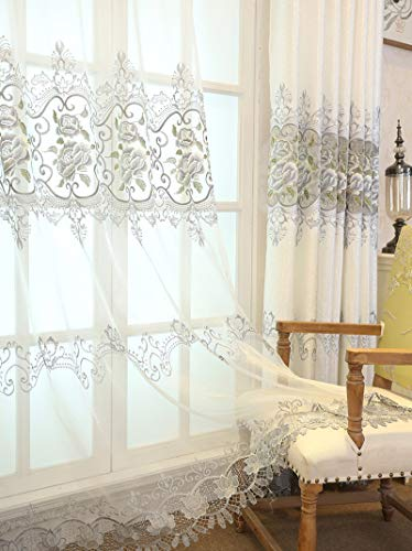 TIYANA 1 Panel Luxury Curtain Sheer Panel for Windows Pole Top Custom, 40 inch Wide by 63 inch Long