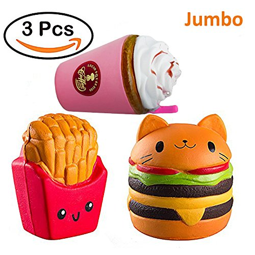FOMANSH 3pcs Jumbo Squishies Slow Rising Toy Cat Hamburger + Coffe Cup + French Fries, Sweet Scented Squishy Toys Stress Relief Toys for Children&Adults(3pcs)