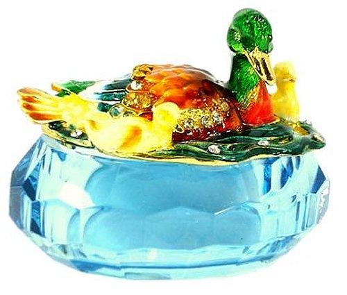 Welforth Jeweled Enamel Duck & Ducklings on Pond Blue Crystal Treasure Trinket (Jeweled Treasure Box)